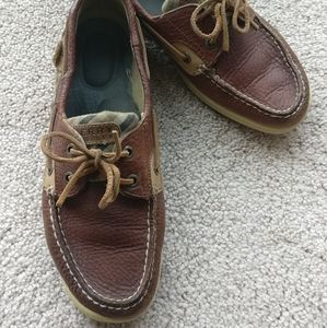 Sperry sz 8.5 top sider plaid leather